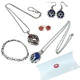 Vampire Diaries pack cadeau. Colliers, boucles d'oreilles et bracelet en cas d'oreiller...