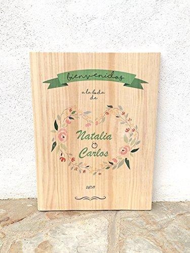 Cartel vintage de madera para bodas - Bienvenidos a nuestra boda