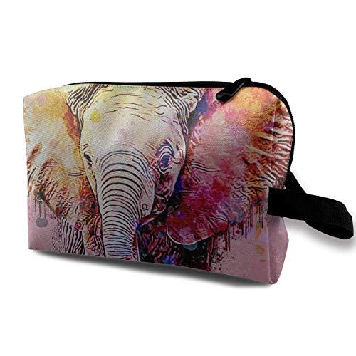 Bolsas de cosméticos de viaje Acuarela Elefante Viaje Bolsa de maquillaje portátil Cremallera Monedero Hangbag