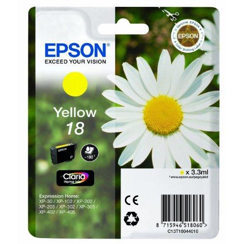 Preisvergleich Produktbild 1x Original Tintenpatrone für Epson Expression Home XP 425, C13T18044010 - Yellow -