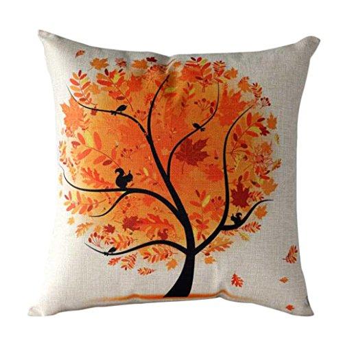 Internet Dessin Animé Fleur Arbre canapé lit Home Café Decor taie d'oreiller Carré housse de coussin Coton Invisible fermeture à glissière 45cm*45cm (Orange)