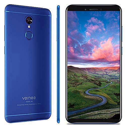 Smartphone Ohne Vertrag, Vernee M6 Dual SIM Handy, 4GB RAM 64GB ROM, 16MP Haupt/13MP Frontkameras, 3300mAh Batterie, 5.7 Zoll 18:9 HD-Display, Android 7.0, MTK6750C Octa-Core Prozessor (blau)