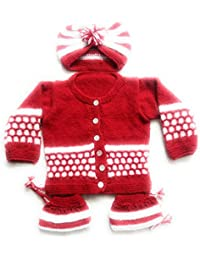 cae8c8caaaa New Jain Traders Unisex Woolen Knitted Baby Sweater Set (3Pcs Suit) 0-6  Months…