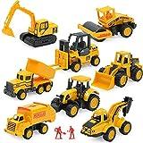 Lazeny Mini Kinder Spielzeugauto 8er Set Baufahrzeuge Spielzeug Reibung Angetriebenes Baustelle Spielsachen Muldenkipper Bagger Straßenwalze Planierraupe Gabelstapler Traktor Modell Spielzeug