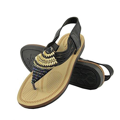 Kick Footwear - DONNE DELLE SIGNORE DI TV GLADIATORE IN ESTATE SPIAGGIA FLIP FLOP VACANZA SANDALI SCARPE Nero F0989