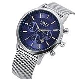 Reloj de cuarzo, yustar Hombres de banda de acero inoxidable resistente al agua de negocios Casual analógico reloj de pulsera de cuarzo con fecha calendario, color azul
