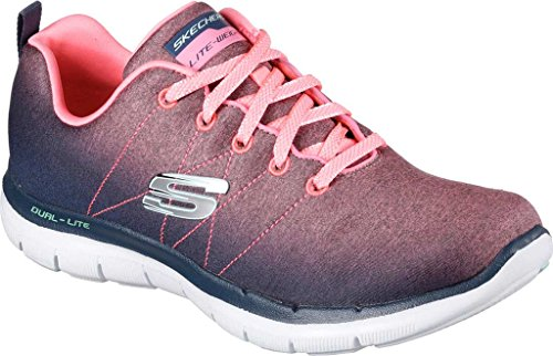 Skechers Damen Flex Appeal 2.0 High Energy Low-Top Grau/Lachs