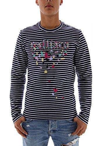 john-galliano-sweat-shirt-homme-bleu-blanc-taille-xs