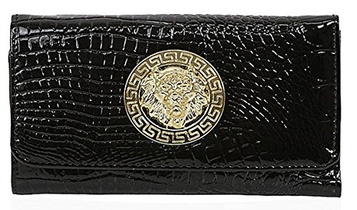 Kukubird Leone medaglione coccodrillo Texture Matinee grande borsa Black Purse La Salida Precios Baratos FBZ9rz6w