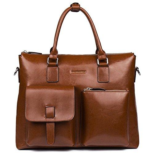 BOSTANTEN Herren/Frauen Leder Aktentasche Laptoptasche Businesstasche Umhängetasche Vintage Groß Braun