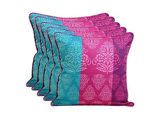 Shalinindia indischen Spring Decor Print Kissen Kissenbezug–Set von 5–100Prozent Baumwolle–200Fadenzahl–Perfekt für Sofas und Betten–maschinenwaschbar, baumwolle, Multi_1, 19 x 19 Inch (Damast Bett-set Königin)