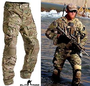Homme Tenues de Combat Pantalon Militaire Paintball Gen3 Tactique Pantalon et Genouillères Multicam MC