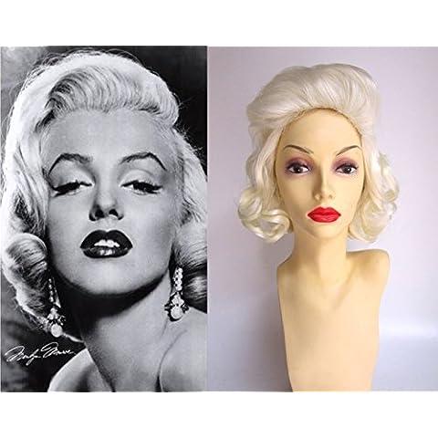 De Lujo Marilyn Monroe Blanco Rubio Rizado 1950's Glamour Peluca