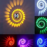 Etime 3W LED Wandleuchte Leuchte Flurlampe RGB Wandlampe Wandlicht Sonne Streulichtdesign mit Fernbedienung (3W RGB)