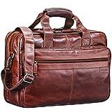 STILORD 'Atlantis' Leder Aktentasche groß Vintage Lehrertasche Arbeitstasche große Ledertasche Businesstasche zum Umhängen Trolley aufsteckbar, Farbe:vegetabil gegerbt Dunkelbraun
