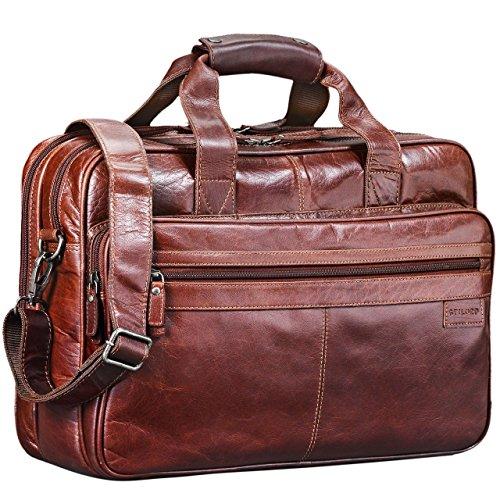 STILORD 'Atlantis' Leder Aktentasche groß Vintage Lehrertasche Arbeitstasche große Ledertasche Businesstasche zum Umhängen Trolley aufsteckbar, Farbe:vegetabil gegerbt Dunkelbraun -