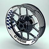 OneWheel Felgenrandaufkleber Motorrad 4er Komplett-Set (17 Zoll) - Felgenbandaufkleber Yamaha Racing (Blau - glänzend)