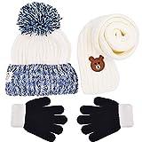 WENTS Bambini Sciarpa Cappello di Guanti Set 3PCS Carina Neonato Cappello con Sciarpa Autunno Invernale Primavera Piccolo Orso Cappelli Sciarpa Guanti per Bambini 3-12 Anni