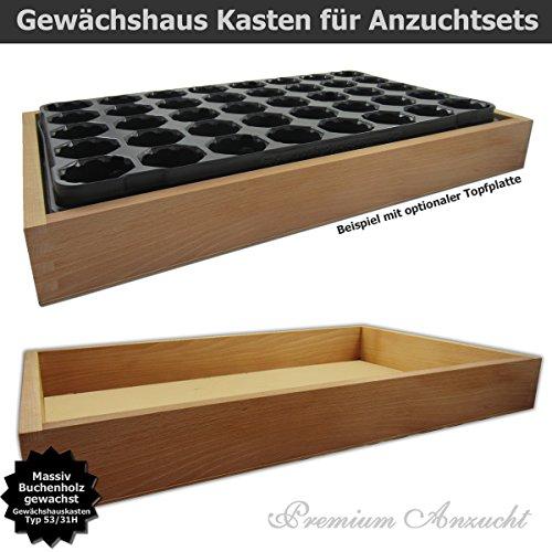Gewächshaus Style-Box Beige GK5331H für GREEN24 Bewässerungswanne + Topfplatte - Buche Massivholz gewachst