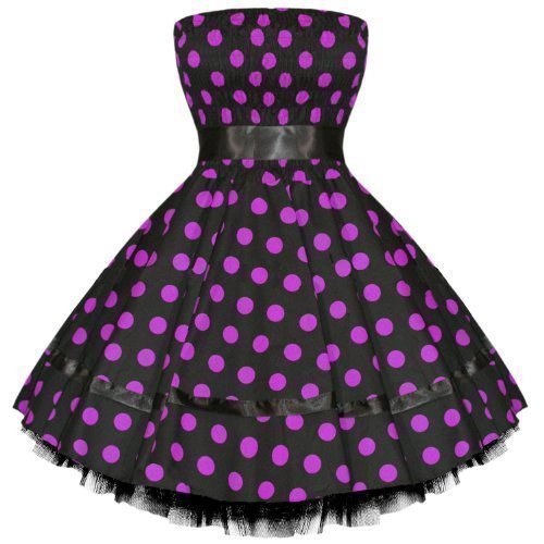Hearts And Roses London Neuf Pois Vintage 50s Retro Swing Robe Soirée avec exclusivité Starlet Sac Fourre-tout Noir avec Violet Points