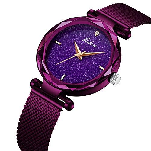 Frauen Uhr, Frau fashion Luxus Handgelenk Uhren für Damen Kleid Business Casual Wasserdicht Quarz Armbanduhr für Frau mit lila Edelstahl Mesh Band und Violett Sub Zifferblatt