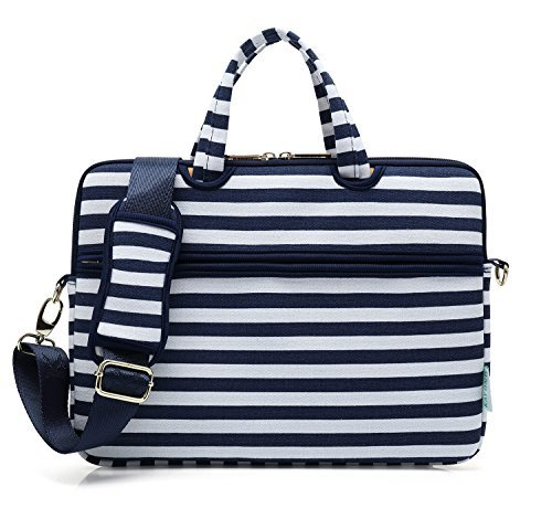 kayond Leinwand Laptop Schulter Messenger Tasche Fall Sleeve Aktentasche 13-13.3 Breton Stripe (Polyester-messenger-portfolio)