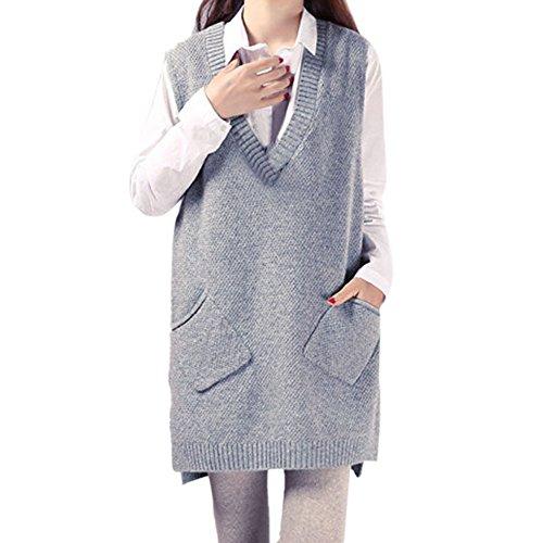 CHIC-CHIC Damen Strick Pullunder lang Weste V-Ausschnitt Ärmellos Sweater Pullover Casual Sweatshirt (Hellgrau) (V-ausschnitt Lange Weste)