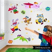 StarStick - Animales Superhéroes - Vinilo infantil - T2 - Mediano