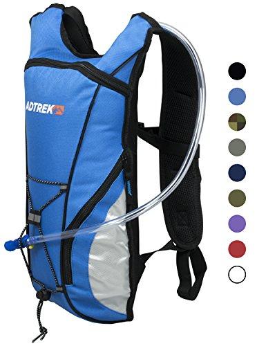 Adtrek - Trinkrucksack mit Wasserblase - Ideal zum Laufen/Radfahren - 2 Liter Blau