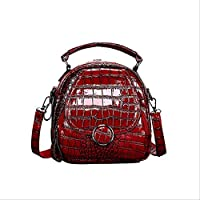 QAZZ School Bag Vintage Women Backpacks Crocodile Pattern Mini Backpack Fashion School Bags for Teenage Girls Clear Backpack Lady Shoulder Bags 20Cm 14Cm 20Cm Red