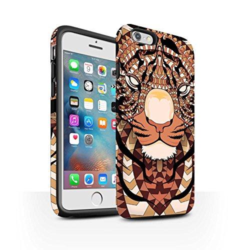 STUFF4 Matte Harten Stoßfest Hülle / Case für Apple iPhone 5/5S / Elefant-Grün Muster / Aztec Tier Muster Kollektion Tiger-Orange