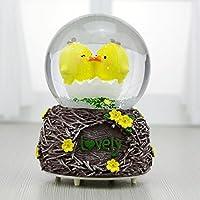 Preisvergleich für Baby-lustiges Spielzeug Glück-Küken-Kristallball-Spieluhr-Ausgangsdekoration Ornaments_Brown-Basis