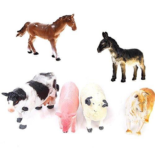 Naisicatar 6 PC-Simulation Tiermodell Figur Tiere Miniatur Tierfiguren Spielzeug Fügen Verschiedenes Schwein Hund Kuh Schaf Pferd Esel-Party-Geschenke (Miniatur-kunststoff-schwein)