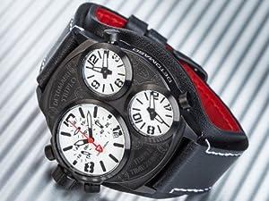 Detomaso TRIPLO Black/Black - Reloj de cuarzo para hombre, con correa de cuero, color negro de Detomaso