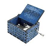 FOONEE Harry Potter Musik Box, Geschnitzt aus Holz Boxen Handkurbel Music Box, antik Geschnitzt Musik Box für Home Dekoration, Toys, Handwerk, Geschenk blau