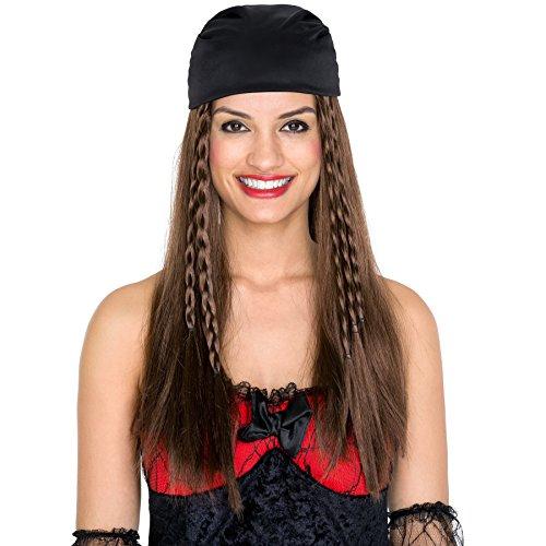 Perücke lange braune Zöpfe | mit Kopftuch | Pirat Seemann Piratenbraut (Tina Turner 80er Jahre Kostüm)