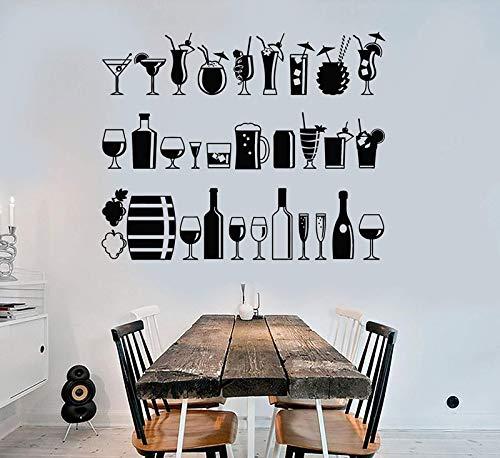 QIANGST Vinyl-Wand-Applikation Alkohol Bar Trinken Party Lounge Restaurant Unterhaltung Freizeit Home Wohnzimmer Dekoration Aufkleber -