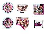 Party Store web by casa dolce casa LOL Surprise Uni Coordinato ADDOBBI Festa - Kit n°7 CDC-(16 Piatti,16 Bicchieri,16 TOVAGLIOLI,1 TOVAGLIA,1 CALAMITA)