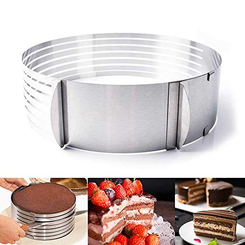 CWeep Cake Slicer Cutter,Stainless Steel 7 Layer Cake Slicer Baking Cake Mold Ring DIY Bakeware Cake Layered Tools Stainless (Retractable 25-30cm)