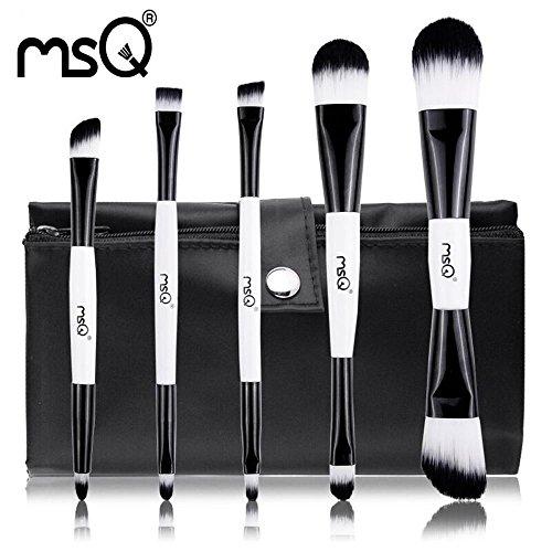 MSQ 5pcs noir et blanc Ensemble de brosse à maquillage à double extrémité Fondation Blusher Ombre à paupières Cosmétique Make Up Kit de brosse Double End Synthetic Hair Canvas Case