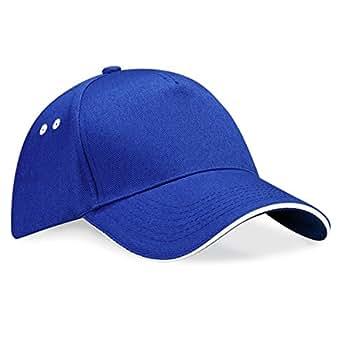 Beechfield - Casquette 100% coton - Unisexe (Taille unique) (Bleu roi vif/Blanc)