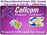 Israel Prepaid SIM-Karte aus CELLCOM, inkl. 30Tage Unlimited Israel, USA, Kanada + 75Schekel Kreditkarten to Call UK + 100GB Daten, passt jeder Größe SIM-Karte Micro Nano + Fall iPhone Pin & Benutzerhandbuch