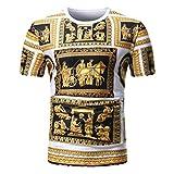 VEMOW Sommer Männer Sommer Casual Täglichen Afrikanischen Print O Neck Pullover Kurzarm T-Shirt Top Bluse Pulli Tees(Mehrfarbig, EU-54/CN-L)