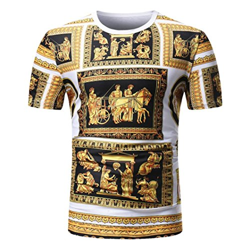 VEMOW Sommer Vatertag Geschenk Männer Sommer Casual Täglichen Afrikanischen Print O Neck Pullover Kurzarm T-Shirt Top Bluse Pulli Tees(Mehrfarbig, EU-58/CN-2XL) (Cut-neck-shirt)