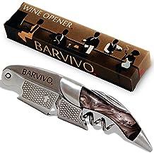 Barvivo - Sacacorchos Profesional. Para botellas de cerveza y vino. Hecho de acero inoxidable y Resina negra