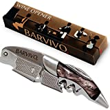 Professional Waiters Corkscrew by Barvivo - This Bottle Opener for Beer and Wine Bottles is Used by Waiters, Sommelier and Bartenders Around the World. Made of Stainless Steel and Black Resin.