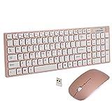 Wireless Tastatur und Maus Set, Hi-azul Kompakt Wenig Lärm 2,4 GHz Kabellose Tastatur und Maus Set mit Nummernblock für Haus und Büro verwenden (Rose Gold)