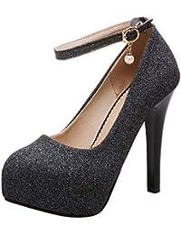 199e5b6d8b49ad COOLCEPT Femme Mode Sangle De Cheville Soiree Chaussures Plateforme Talon  Aiguille Escarpins Taille Grands