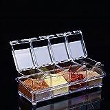 Satisfr 4 Pcs Acrylique Transparent Spice Assaisonnement Boîte Set, Pot de Sucre Poivre Assaisonnement Pots d'épices Boîte Détachable