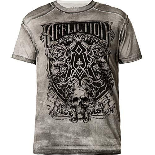 Affliction T-Shirt Framing Death Grau, XL - Affliction T-shirt Aus Baumwolle